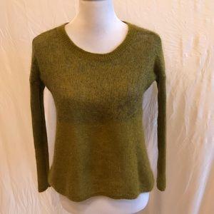 Eileen Fisher Green Semi Sheer Crop Sweater Small